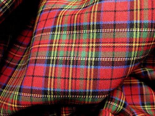 Red Blue Green Plaid Scotch Tartan Cotton Fabric 45