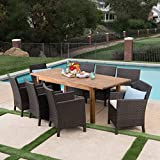 Lilith Outdoor 9 Piece Multibrown Wicker Dining Set with Teak Finished Acacia Wood Expandable Dining Table and Light Brown Water Resistant Cushions