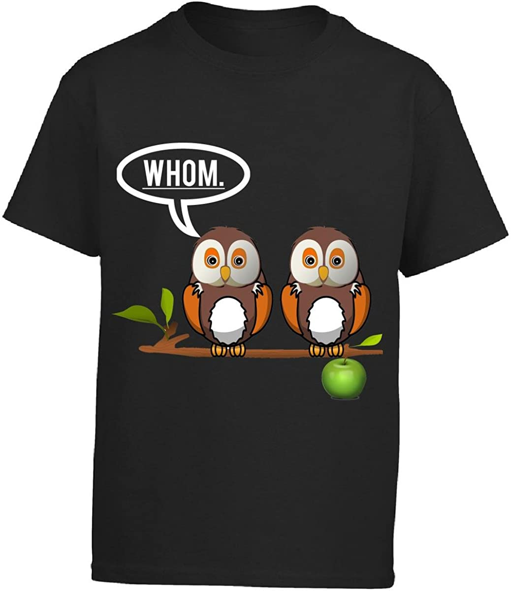 Whom Grammar Owl Proper Speach Teacher Grammatically Correct Boy Boys T-shirt
