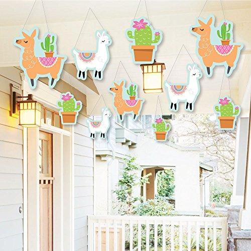 Hanging Whole Llama Fun - Outdoor Llama Fiesta Baby Shower or Birthday Party Hanging Porch & Tree Yard Decorations - 10 Pieces
