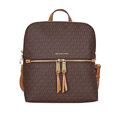 0f29bf88a10a Amazon.com | MICHAEL Michael Kors Rhea Medium Slim Backpack (Signature Brown)  | Casual Daypacks