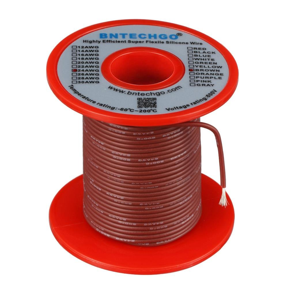 BNTECHGO 24 Gauge Silicone Wire Spool 100 feet Ultra Flexible High Temp 200 deg C 600V 24 AWG Silicone Wire 40 Strands of Tinned Copper Wire 50 ft Black and 50 ft Red Stranded Wire for Model