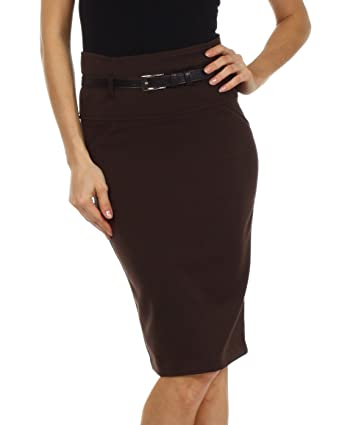 Knee Length High Waist Stretch Pencil Skirt with Skinny Belt at ...
