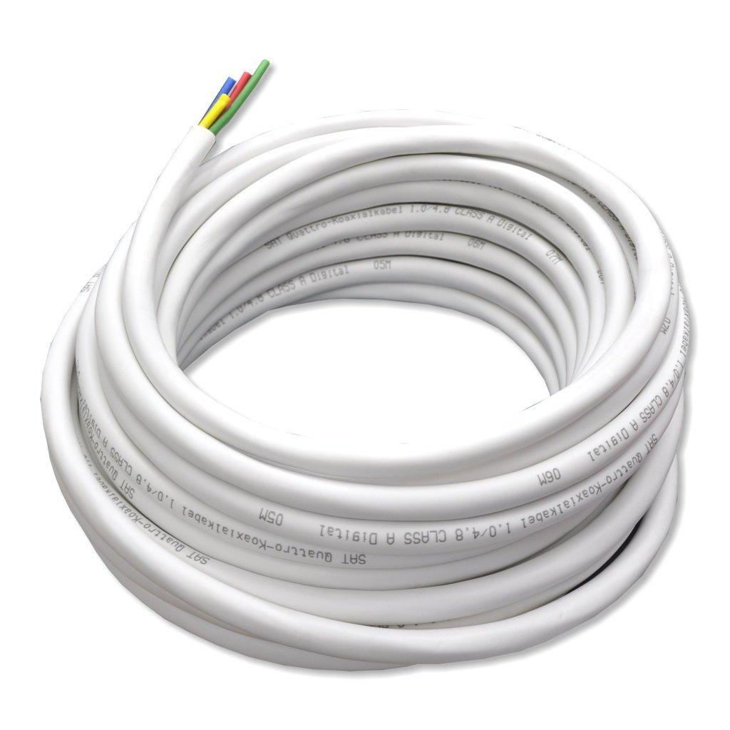 Cable coaxial Quattro RG6U - - 10 M - Compatible con contenido digital/6.8 mm/> 90 dB/2 apantallado: Amazon.es: Electrónica