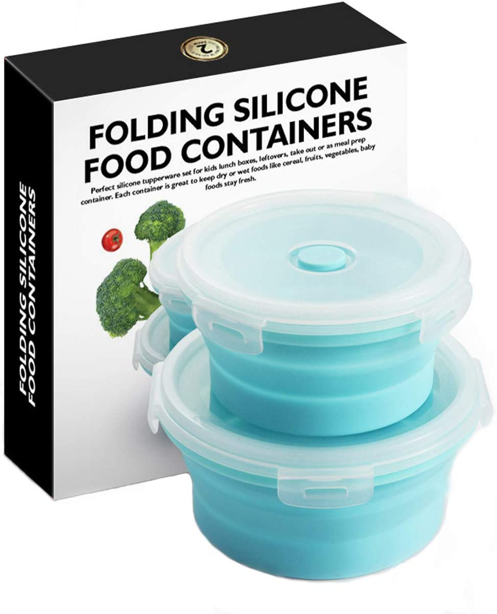 2PCS 500ml and 800ml Silicone Foldable Round Food Storage Containers Portable Outdoor Lunch Boxes Sealed Fresh-Keeping Boxes Microwave lunch