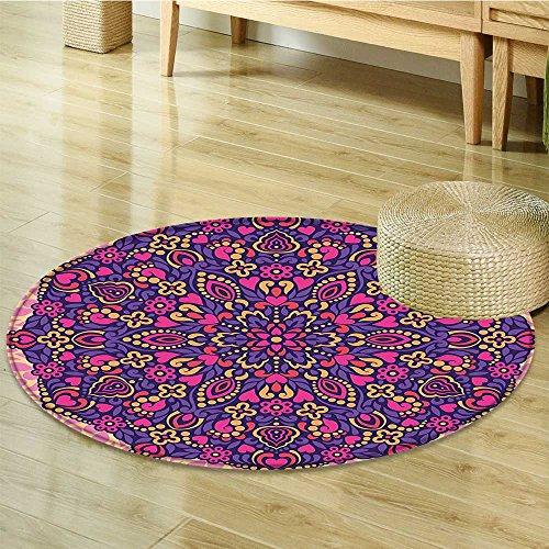 Small round rug Carpet Flower Circle Shaped Spiritual Universe Icon door mat indoors Bathroom Mats Non Slip-Round 31