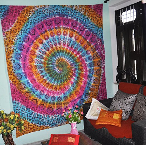 Gokul Handloom Multi Color Tie Dye Hippie Tapestry Hippy Mandala Bohemian Tapestries Indian Dorm Decor Psychedelic Tapestry Wall Hanging Ethnic -