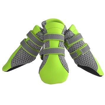Petacc Zapatos para Perros Antideslizante Botas para Perros Transpirable con Tira Reflectante para Perro Pequeño (
