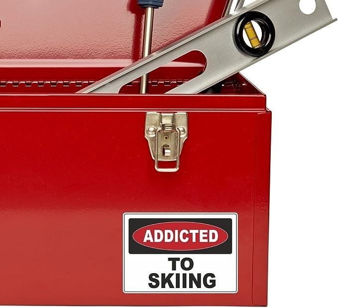 2 x Addicted to Skiing Ski Vinyl Sticker Laptop Travel Luggage Car #6532