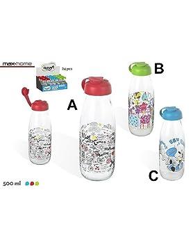 Hogar y Mas Botella de Cristal Portable para la Leche Original y Divertida ¡Elige tu