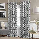 Cheap Celeste Modern Lattice Ironwork Print Blackout Room Darkening and Thermal Insulating Window Curtain / Single Lined Panel, 52 Inch Wide X 95 Inch Long, Black