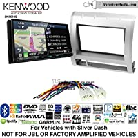 Volunteer Audio Kenwood Excelon DNX994S Double Din Radio Install Kit with GPS Navigation Apple CarPlay Android Auto Fits 2005-2011 Non Amplified Toyota Tacoma (Light Silver)
