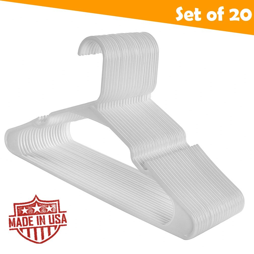 Beepels Merrick Standard Everyday Closet Plastic Clothing Hangers, Notched Shoulders, Made in USA, White (20 Pack) by Beepels (Image #1)