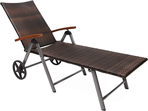 Tangkula Wicker Chaise Folding Back Adjustable Aluminum Rattan Lounger Recliner Chair W/Wheels Mix Brown