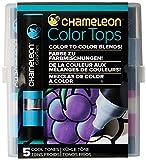 Chameleon Art Products Color Tops, Cool Tones 5-Pen Set,