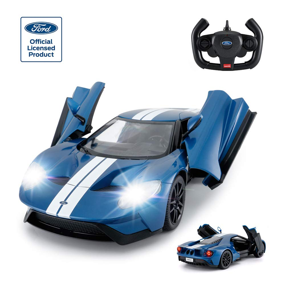 Amazon Com Rastar Rc Car   Ford Gt Remote Control Rc Race Toy Car For Kids Open Doors By Manual Blue Mhz Toys Games