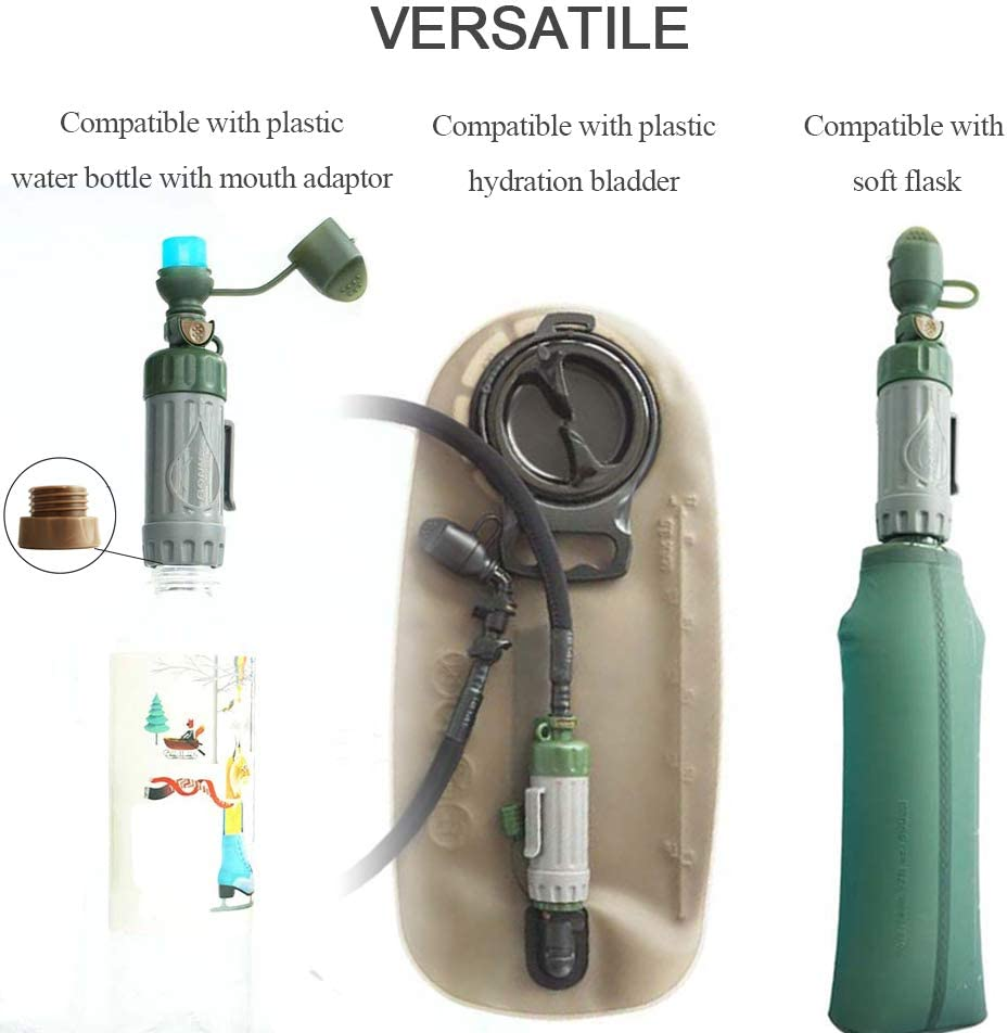 Filtro de Agua Port/átil Utilizado para la Preparaci/ón para Emergencias de Supervivencia Al Aire Libre Lixada Purificador de Agua Multifuncional Purificador de Agua Potable de Paja