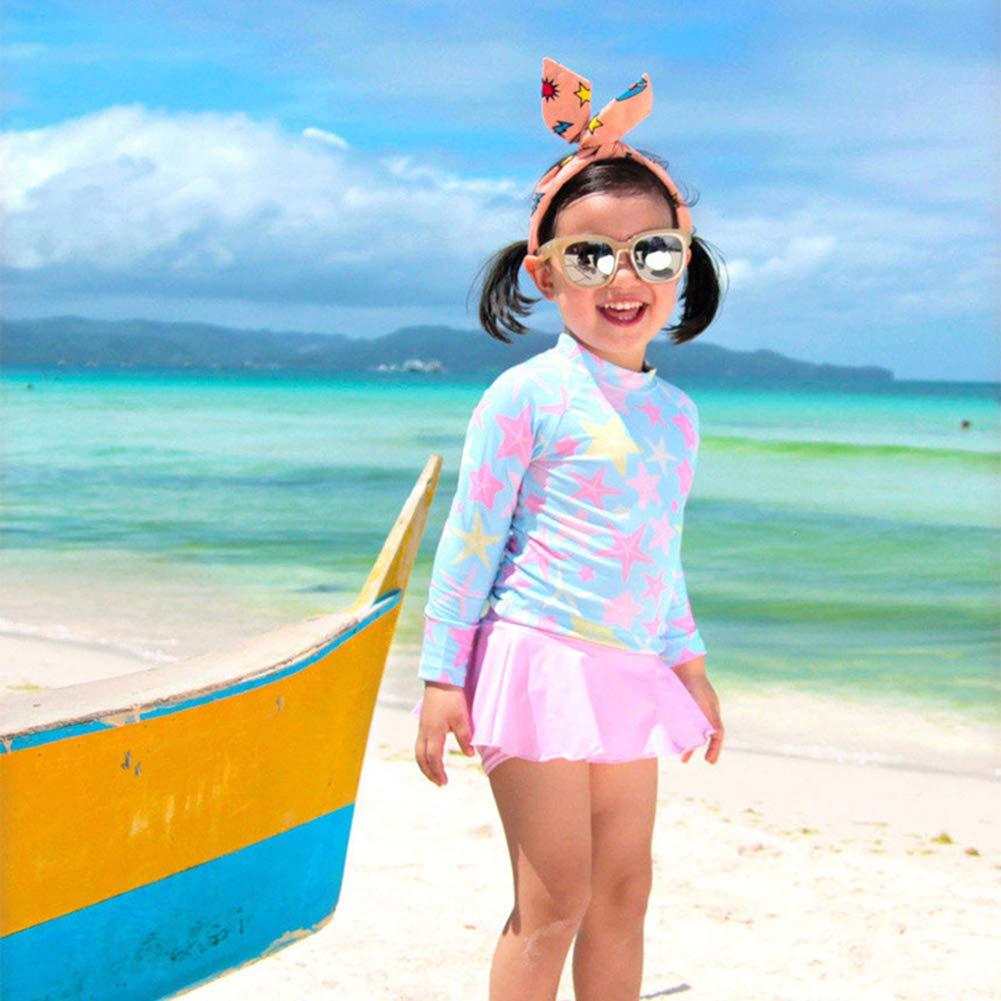 Baby Girls Quick Drying Skirt Swimsuit Long Sleeve Toddler Floral Ruffles Swimwear UPF 50+