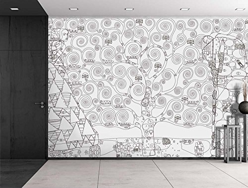 Black Outline of Tree of Life by Gustav Klimt on a White Background Wall Mural