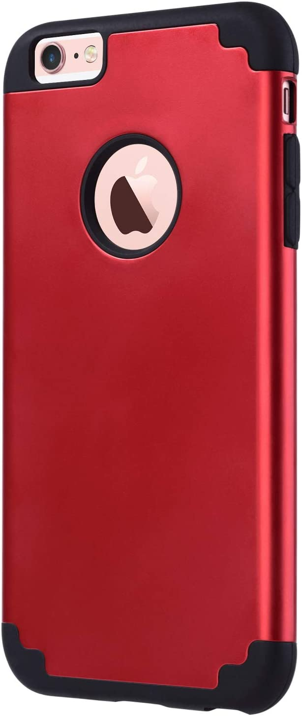 ULAK iPhone 6 Plus Case, iPhone 6S Plus Case, Slim Dual Layer Soft Silicone Hard Back Cover Anti Scratches Bumper Protective Cover for Apple iPhone 6 Plus / 6S Plus 5.5 inch (Red)
