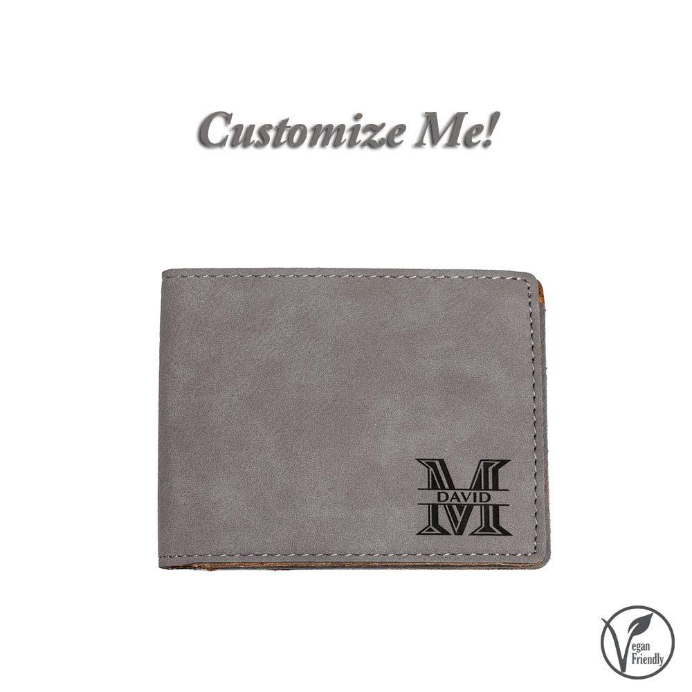 Emenar Custom Personalized Grey Wallet Vegan Leather Bifold Slim Wallet for Men, Perfect Gift