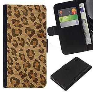 iBinBang / Flip Funda de Cuero Case Cover - Spots Fur Africa Brown Beige - Sony Xperia Z4