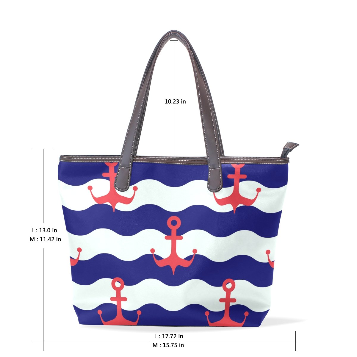 IMOBABY Womens Large Handbags Tote Bags Blue Marine Anchors Nautical Patern Leather Top Handle Shoulder Bags,Ts024