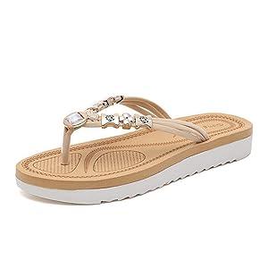 Women'S Flip-Flop, Sandals, Non-Slip Wear (5.5, Creamy-white)
