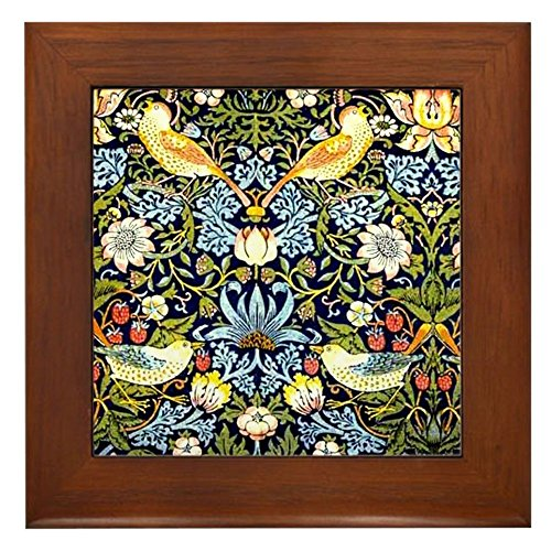 CafePress - William Morris Design - Strawberry Thi - Framed Tile, Decorative Tile Wall Hanging