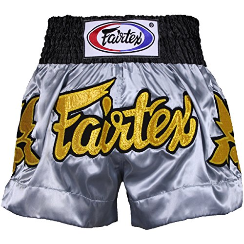 Fairtex Gold Leafs Muay Thai Shorts - Grey - Large
