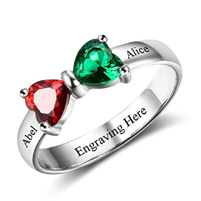 9d5f3b641354d Tian Zhi Jiao Personalized 2 Names Simulated Birthstone Rings for Women  Custom Engagement Rings Promise Rings for Women