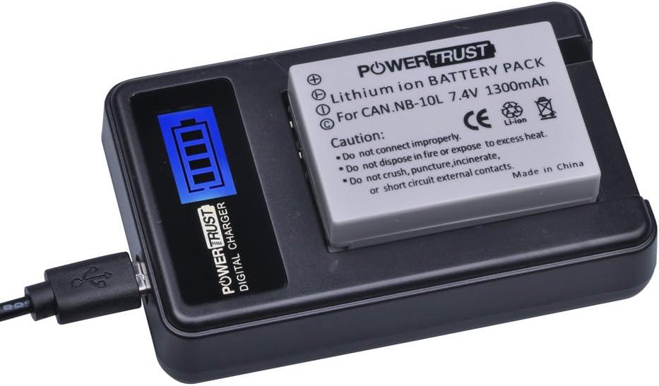 SX50 HS G3X SX60 HS PowerTrust NB-10L Chargeur de batterie LCD USB pour Canon PowerShot G15 G16 SX40HS SX40 HS G1X