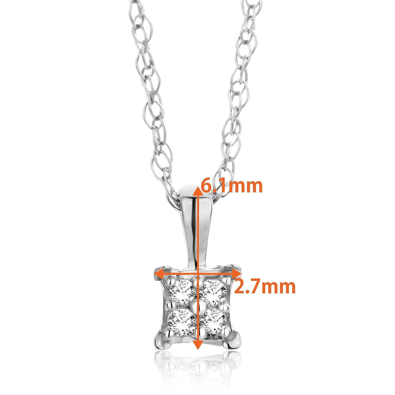 Collar con colgante de mujer con cadena de oro blanco de 18 ct y 750 con diamantes Orovia cadena de corte brillante de 45 cm