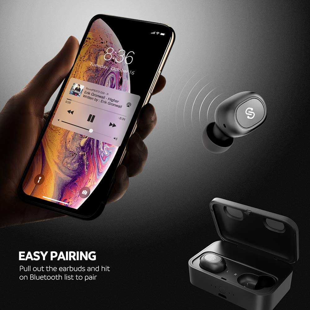 SoundPEATS True Wireless Bluetooth Earbuds in-Ear Stereo TWS Bluetooth Headphones Wireless Earphones (Bluetooth 5.0, 2600mAh Charging Case, 55 Hours Playtime, Built-in Mic) by SoundPEATS (Image #6)
