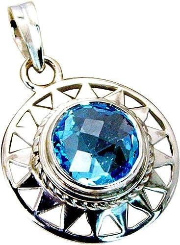 GEMSONCLICK Genuine Blue Topaz Pendant 925 Sterling Silver December Birthstone Charm Round Shape Necklace