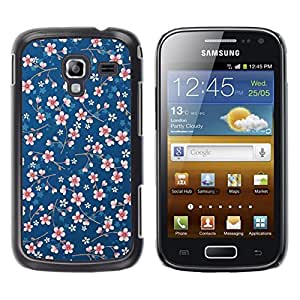 FlareStar Colour Printing Daisy White Blue Pattern Floral Wallpaper cáscara Funda Case Caso de plástico para Samsung Galaxy Ace 2 i8160 / Ace2 II XS7560M