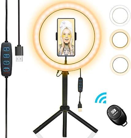 Todo para el streamer: Luz de Anillo de 10 Pulgadas,3 Colores 10 Brillos Regulables,Luz de Anillo LED Selfie con Trípode Stand,Control Remoto Bluetooth, Anillo de Luz para Móvil Selfie Maquillaje,Youtube,TIK Tok Live
