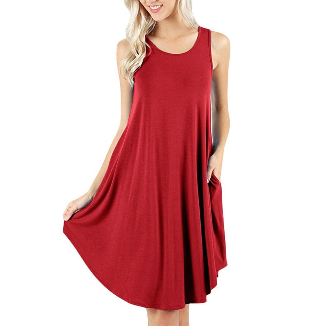 VEZAD Sleeveless Women's Dress Pockets Casual Swing T-Shirt Dresses