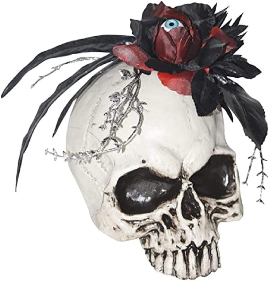 Spooky Skull Halloween Table Centerpiece with Black and Red Rose and Creepy Eyeball Decoration for Tabletop, Desk, Office, 8 Inch