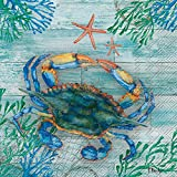 Celebrate the Home Beach-Themed 3-Ply Paper Luncheon Napkins, Clearwater Crab and Starfish, 20-Count