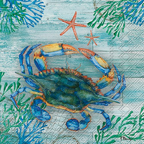 (Celebrate the Home Beach-Themed 3-Ply Paper Luncheon Napkins, Clearwater Crab and Starfish, 20-Count)