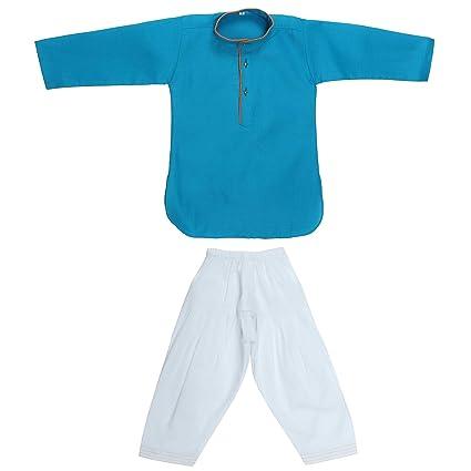 fe666341c339 Superminis Baby Boy s Cotton Ethnic Wear Round Kurta with Salwar (Blue