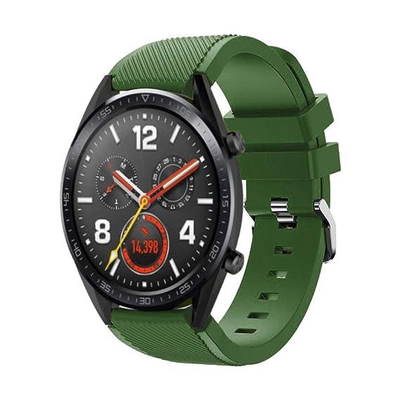 DIPOLA Reemplazo de Correa de muñeca de Reloj de Silicona para Huawei Watch GT Smart Watch 22mm_Ejercito Verde