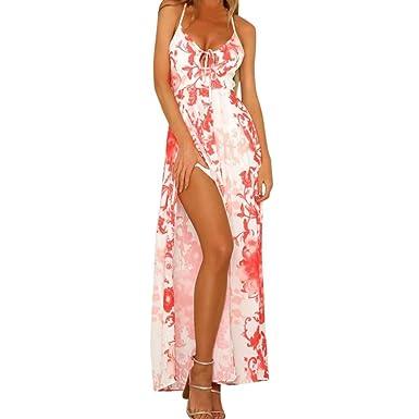 JYC Verano Falda Larga, Vestido De La Camiseta Encaje, Elegante Casual, Vestido Fiesta Mujer Largo Boda, Boho Escotado por Detrás Impresión Playa Señoras ...