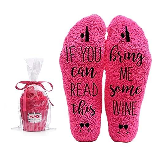 Amazon Bring Me Wine Fuzzy Pink Socks