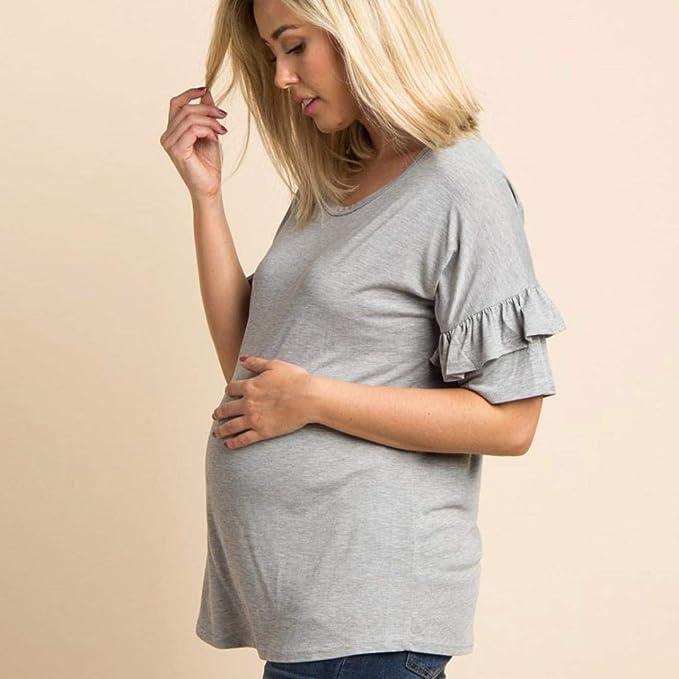 BBsmile Ropa premamá De Las Mujeres Maternidad Tops de Manga de Mariposa Ropa de Embarazo Top Camisa de Blusa: Amazon.es: Ropa y accesorios