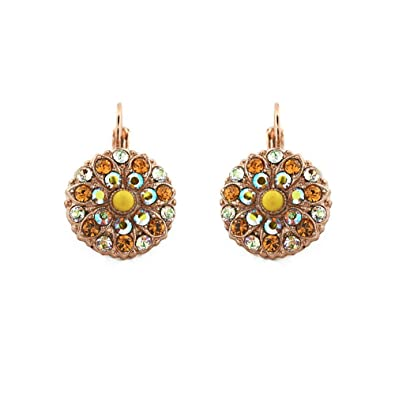 59f8b775f MARIANA JEWELLERY Handmade 24ct Rose Gold Plated Leverback Hoop Earrings  for Women-Crystals from Swarovski® and Natural Gemstones, Yellow:  Amazon.co.uk: ...