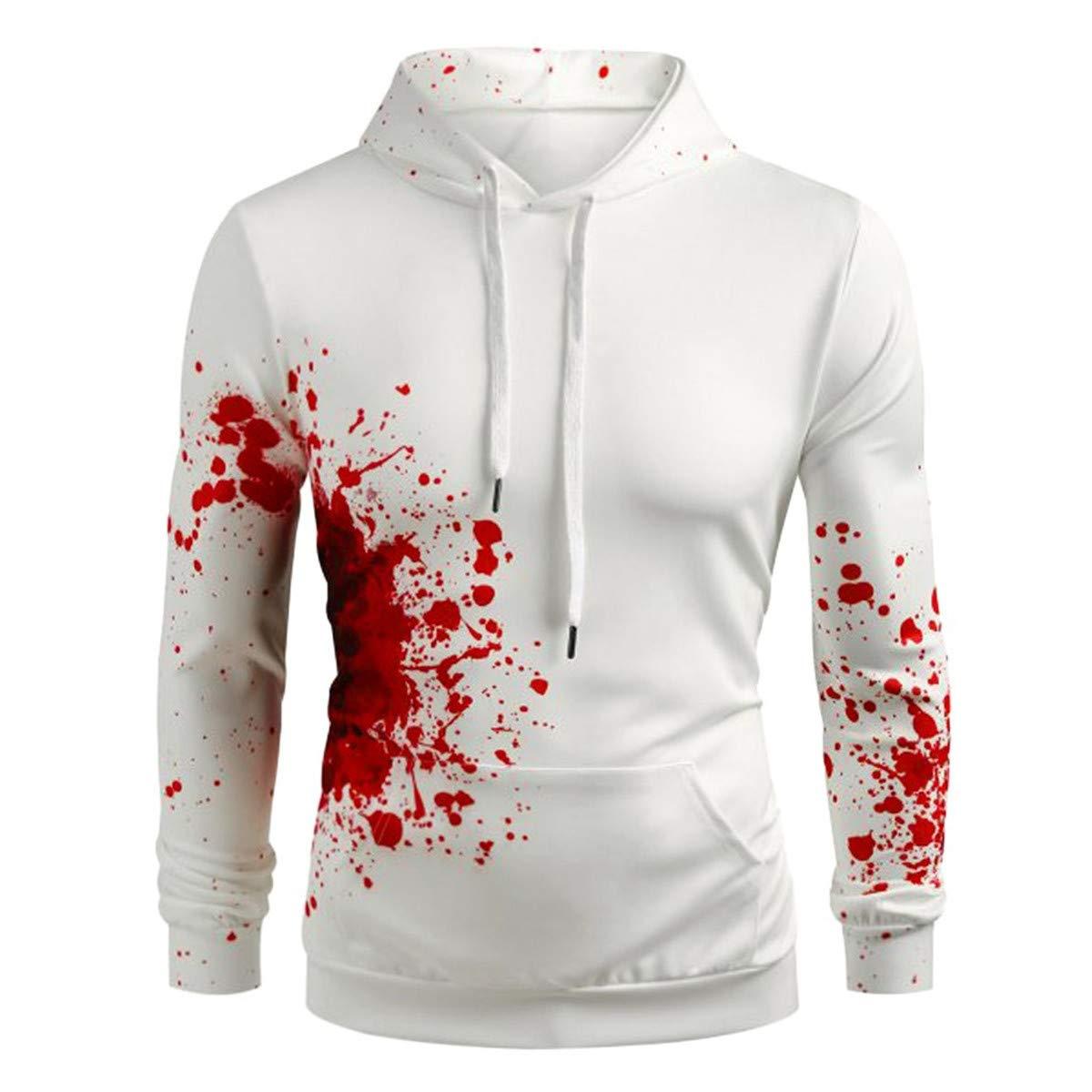 Thenxin Halloween Hooded Sweatshirt Men Bloody Patterned Drawstring Hoodie with Kangaroo Pocket(White-A,M) by Thenxin
