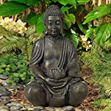 John Timberland Sitting Buddha 19 1/2'' High Sculpture with Solar Powered LED