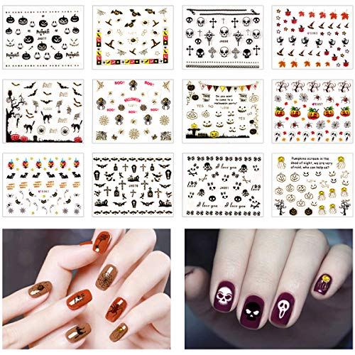 Apipi 12 Sheet 3D Design Halloween Nail Art Stickers Decals - Halloween Water Slide Nail Stickers Manicure Art Decoration for Fingernails Toenails Nail -